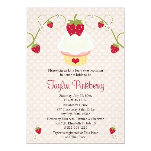 Strawberry Cupcake Bridal Shower Invitation Pink
