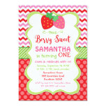 strawberry invitation, strawberry birthday invite