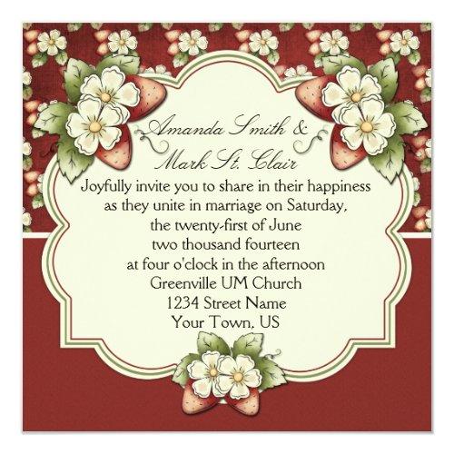 Strawberry Splash Wedding Invitation