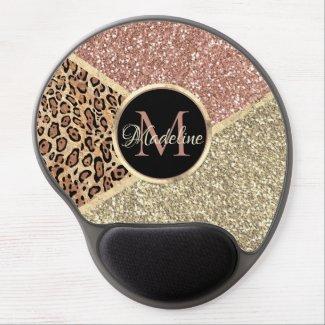 Striped Rose Gold Glitter Leopard Monogram Mouse Pad