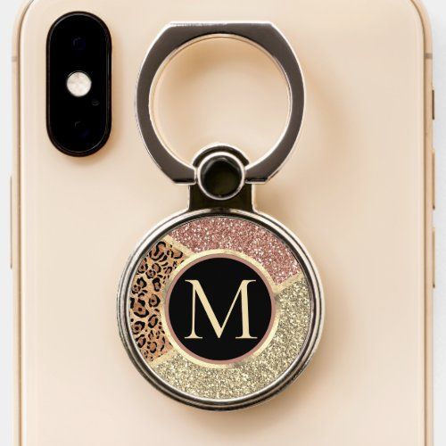 Striped Rose Gold Glitter Leopard Monogram Phone Ring Stand