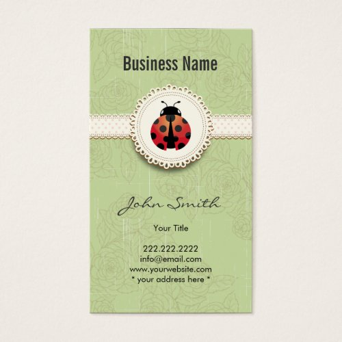 Style Ladybug & Lace Green Floral Business Card by CardFactory (Also available in black).