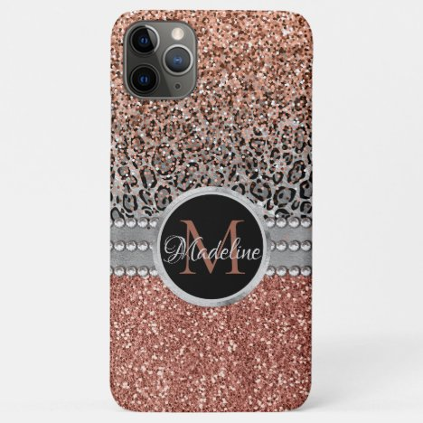 Stylish Girly Rose Gold Glitter Leopard  Monogram iPhone 11 Pro Max Case