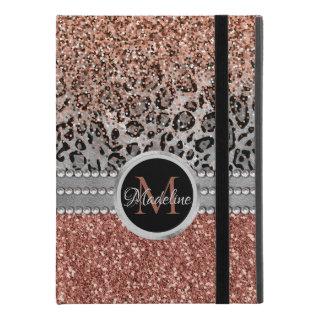 Stylish Girly Rose Gold Glitter Leopard Monogram iPad Pro 9.7