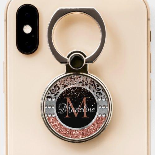 Stylish Girly Rose Gold Glitter Leopard Monogram Phone Ring Stand