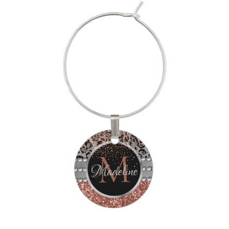Stylish Girly Rose Gold Glitter Leopard Monogram Wine Charm