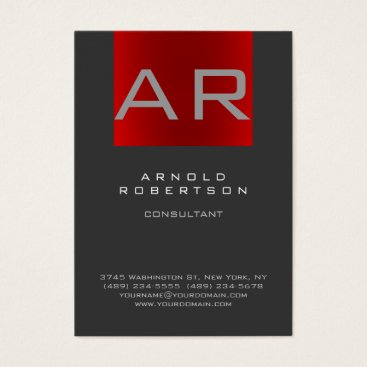 Stylish Gray Red Trendy Monogram Business Card