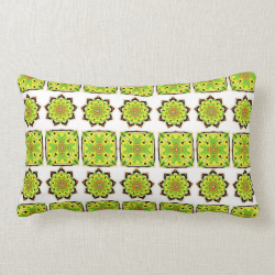 Stylish Modern Repeat Pattern Green Yellow Mix Throw Pillow