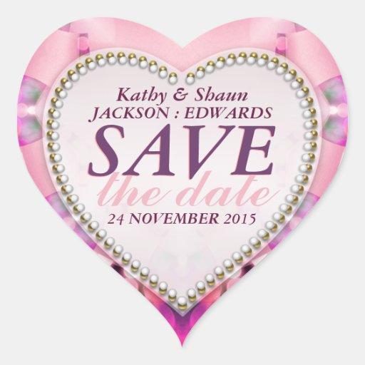 Stylish Pink Romance Save the Date Heart Stickers