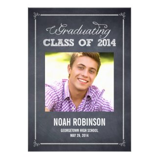 Stylishly Chalked Photo Graduation Invitation
