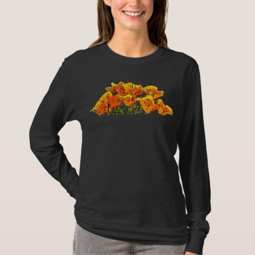 Stylized California Poppy Art - T-Shirt