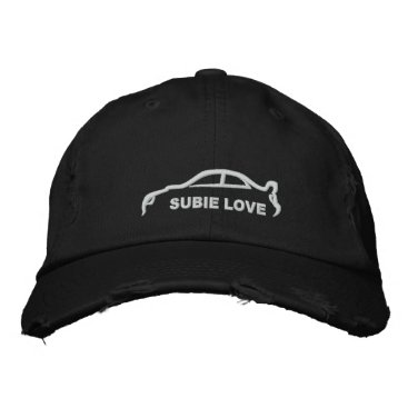 Subie Love White Silhouette Embroidered Baseball Hat