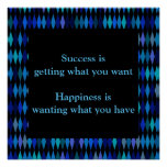Success Inspirational Quote Blue Black Design Poster