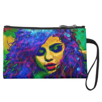 Sueded Cosmetic Bags/wristlets beautiful artwork!