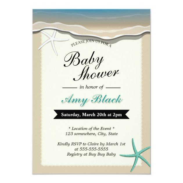 Summer Beach Theme Starfish Baby Shower Invitation