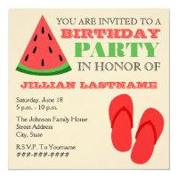Summer Birthday Party - Flip Flops & Watermelon Card