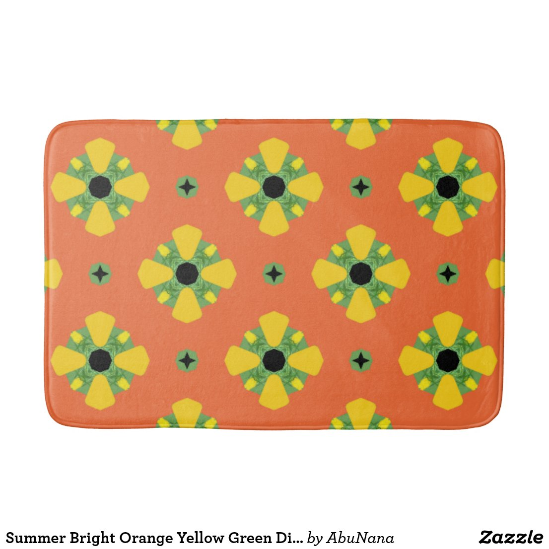 Summer Bright Orange Yellow Green Diamond Pattern  Bath Mat