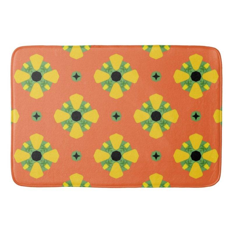 Summer Bright Orange Yellow Green Diamond Pattern  Bath Mat