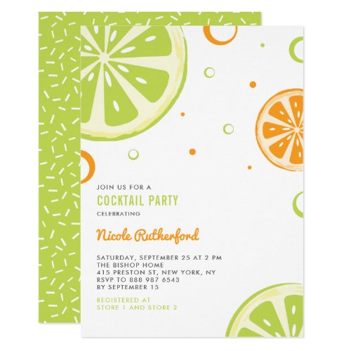 Summer Citrus Slices Cocktail Party Invitation