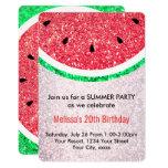 summer party faux glitter watermelon invitation