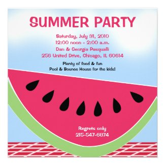 Summer Party Picnic Watermelon 5x5 custom Announcements