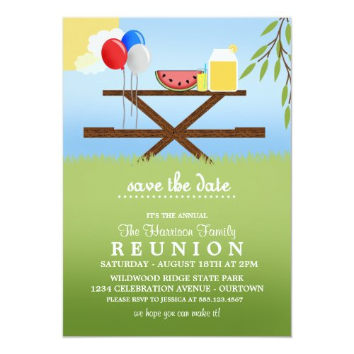 Summer Picnic Family Reunion Invitations