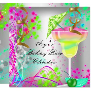 Summer Pink Birthday Party Colorful Cocktail Card