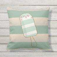 Summer Retro Ice Creams, Cabana Stripes Outdoor Pillow