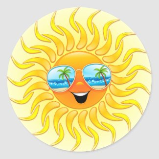 Summer Sun Cartoon with Sunglasses stickers