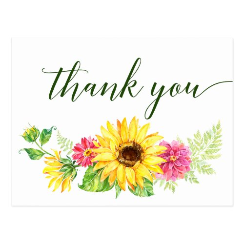 Summer Sunflower Thank You Postcard