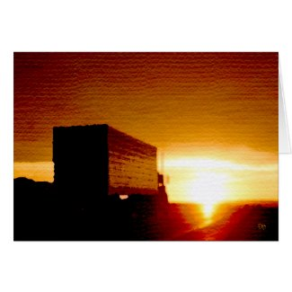 Sundown Truckin' Greeting Card