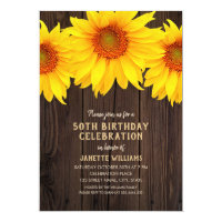 Sunflower 50th Birthday Party Rustic Wood Card