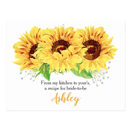 Sunflower Bridal Shower Recipe Card