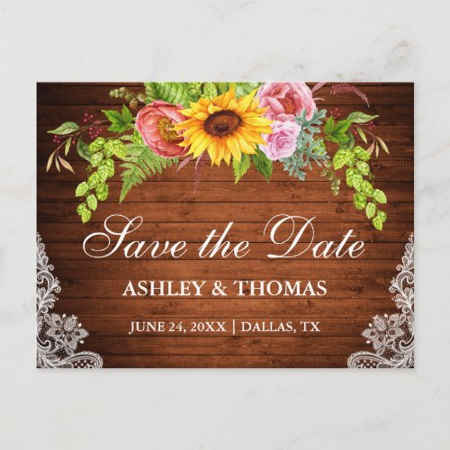 Sunflower Floral Wood Lace Save The Date Invitation Postcard