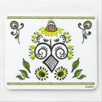 Sunflower Folk Pattern by Alexandra Cook mousepads