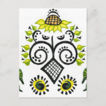 Sunflower Folk Pattern by Alexandra Cook postcards