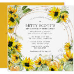 Sunflower Pumpkin Autumn Fall 50th Birthday Invitation