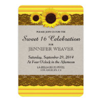 Sunflower, Stripes, and Brown Lace Card
