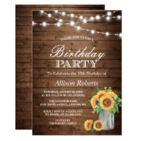 Sunflowers Birthday Party Rustic String Lights Card