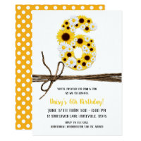 Sunflowers & Daisies SIX 6 6TH Birthday Party Card