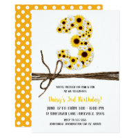 Sunflowers & Daisies THREE 3 3RD Birthday Party Card