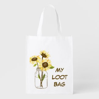 Sunflowers In A Mason Jar Shopping Bag Grocery Bags