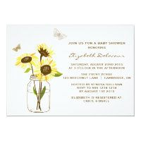 Sunflowers on Mason Jar Baby Shower Invitation