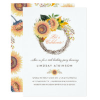 Sunflowers Wreath Rustic Fall Birthday Party Card