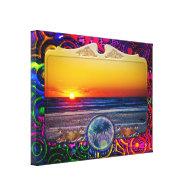 Sunrise Over Atlantic Ocean in Unique Frame Stretched Canvas Print