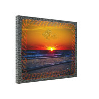 Sunrise Over Atlantic Ocean Rope Frame Stretched Canvas Prints