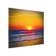 Sunrise Over Atlantic Ocean & Water Reflection Canvas Prints