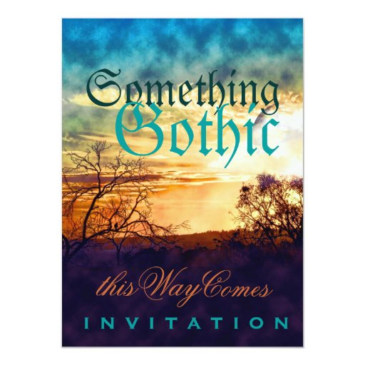 Sunset Gothic Mood Wedding Reception Invitations