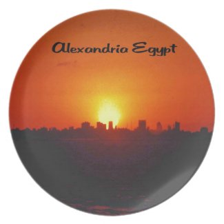 Sunset over Alexandria Egypt Plates