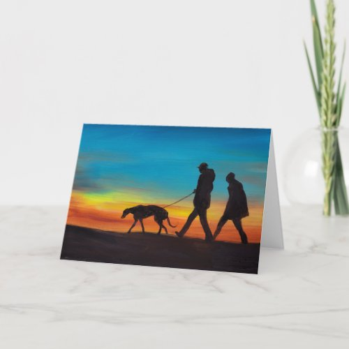 Sunset Walk with Greyhound Dog Art Greeting Card